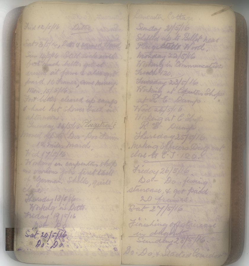 E.L.G. War Diary 20/5/16