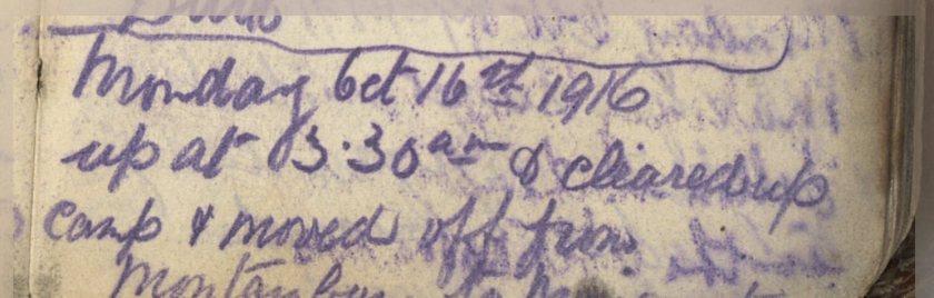 ELG - War Diary - 16/10/1916